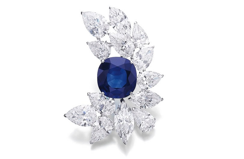 Magnificent sapphire and diamond brooch, Cartier