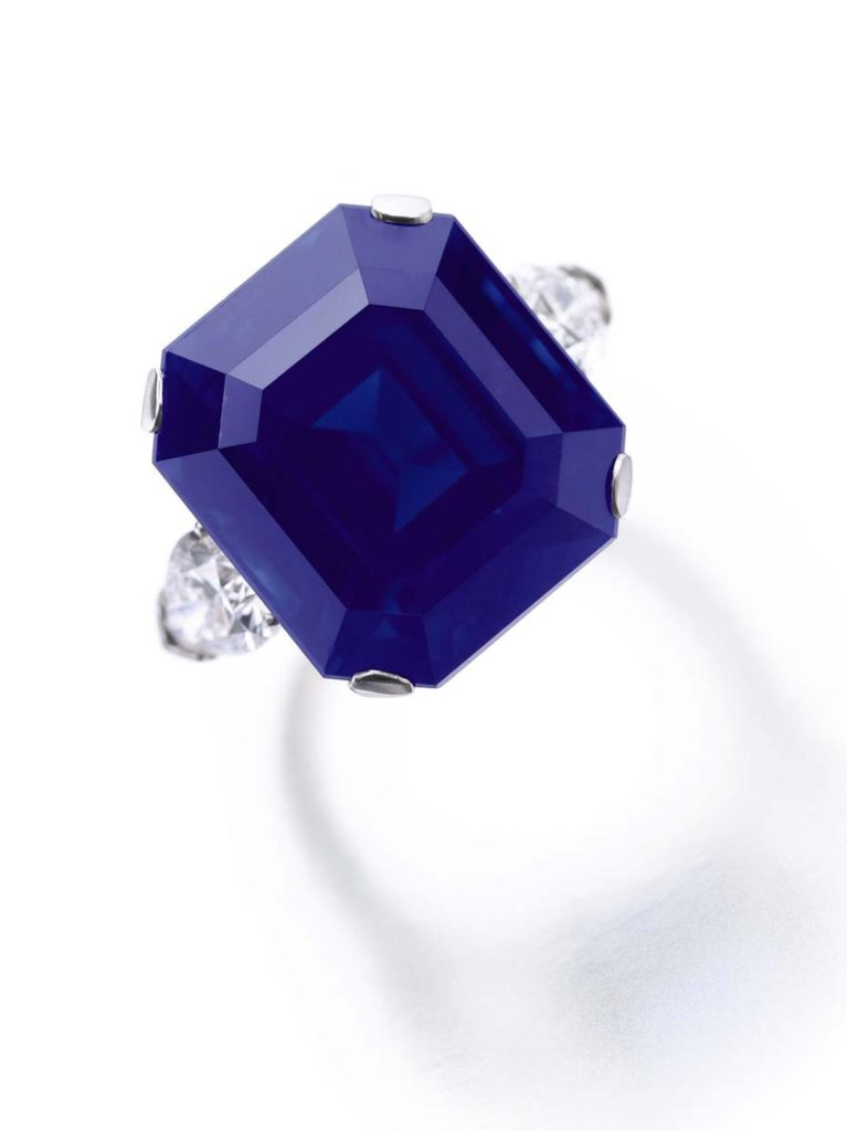 A rare 27.54 carat step-cut Kashmir sapphire which exhibited a rich, saturated velvety blue colour achieved USD 5,984,474