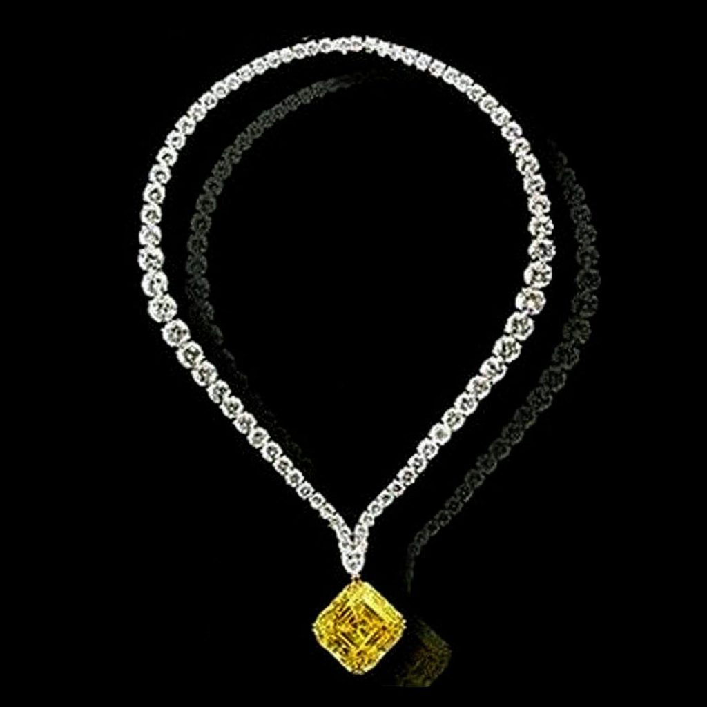 Top 10 most expensive diamond necklace - Leviev's Vivid Yellow Diamond Pendant