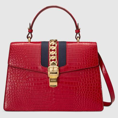 #4 most expensive Gucci items - Gucci Sylvie Hibiscus Red Crocodile Top Handle Bag - $34,000