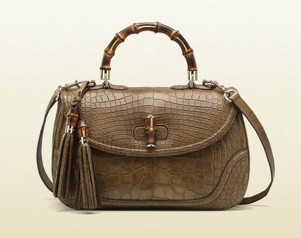 #6 most expensive Gucci items in the world - Gucci Crocodile Tote Bag with Bamboo Handle – $ 32,000